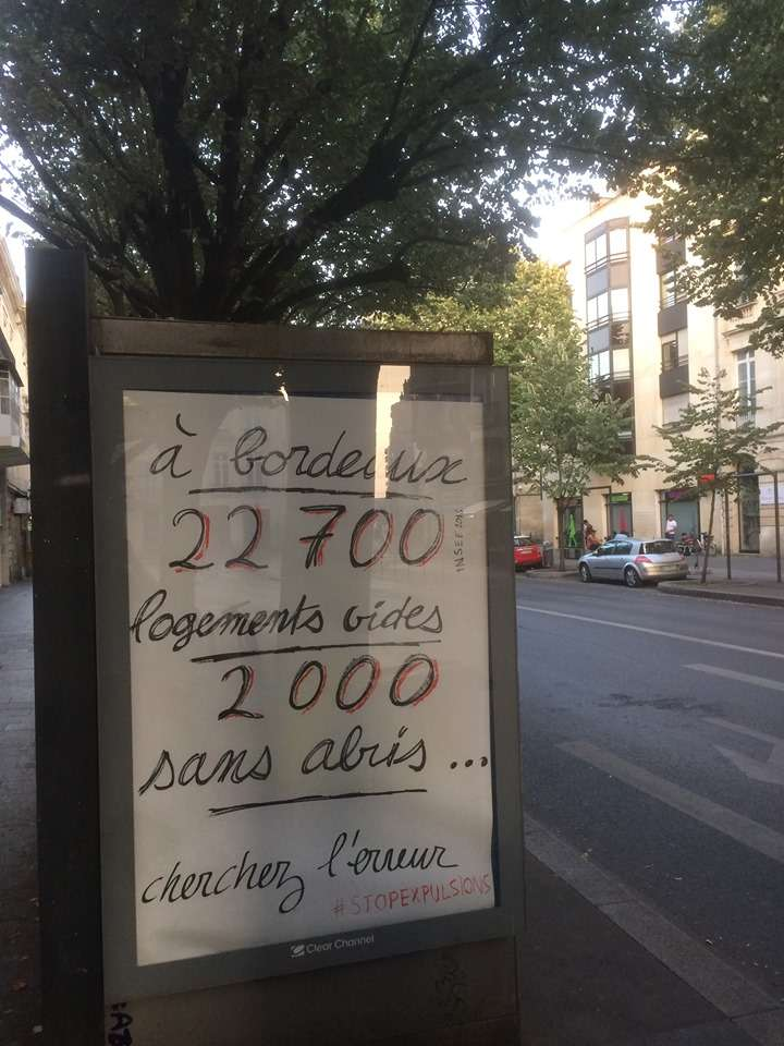 Campagne d'affichage anti pub à Bordeaux sur la question des sans abris