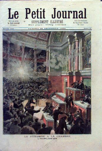 Une du Petit Journal après l'attentat anarchiste de Edouard Vaillant en 1893. Photographie : wikipedia domaine public