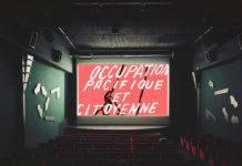 """Photomontage de la salle de projection réalisé par le collectif """"La Clef Revival"""" qui occupe le cinéma depuis le 21 septembre 2019. Photographie : La Clef Revival"""