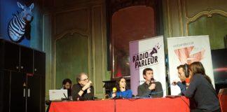 Plateau de l'émission spéciale de Radio Parleur sur l'éducation au médias et les fausses informations à Paris le 16 novembre 2019. Photographie : Antoine Atthalin pour Radio Parleur.