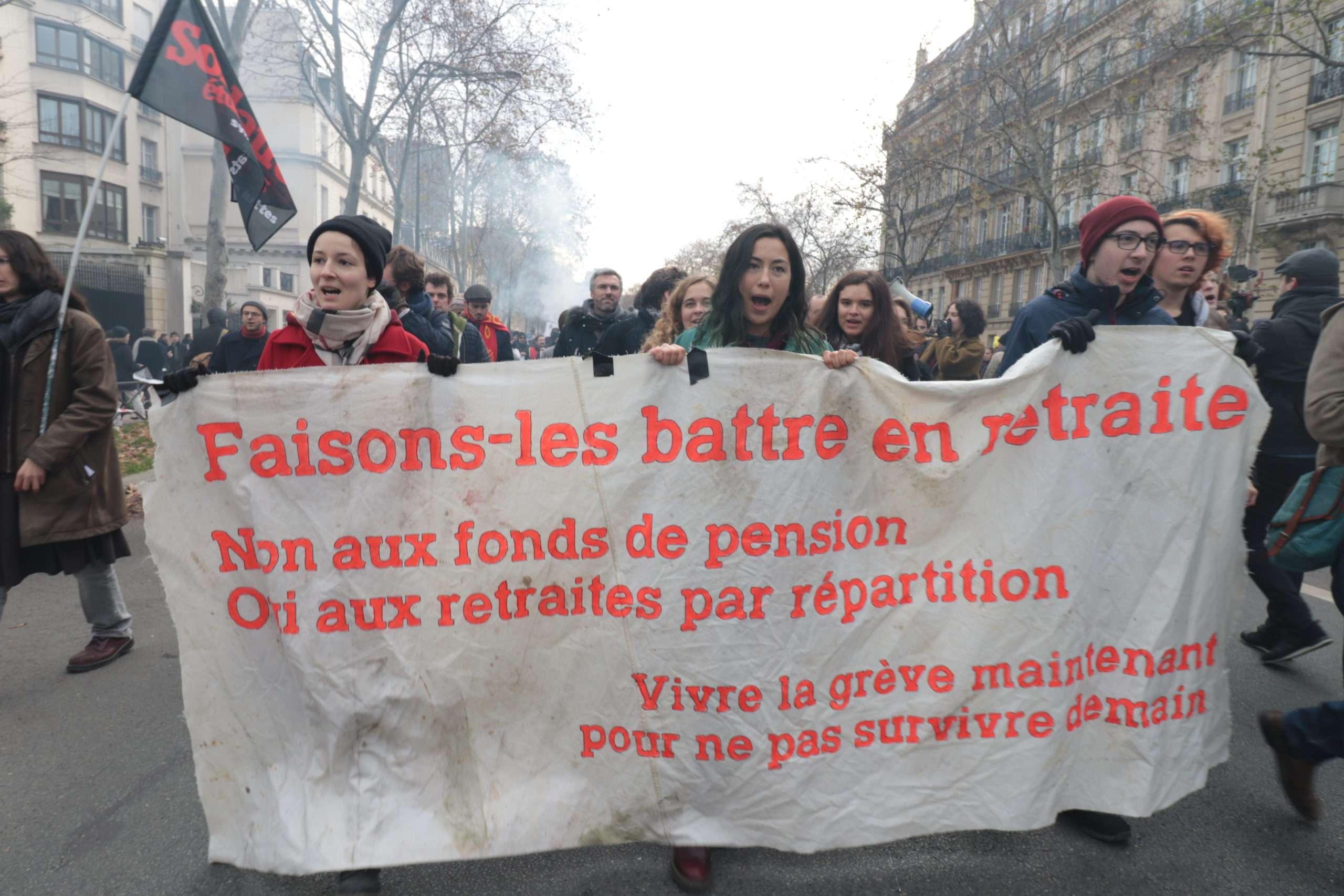 A Paris, le 10 décembre 2019, contre le projet de réforme des retraites. Photo Pierre-Olivier Chaput pour Radio Parleur.
