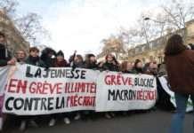 Mobilisation étudiante banderole retraites