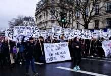 Boulevard Beaumarchais lors de la manifestation féministe pour la journée internationale des femmes, le 8 mars 2020 à Paris. Photo Gary Libot pour Radio Parleur.
