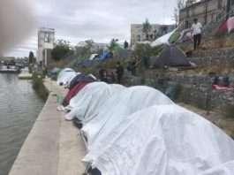 Camp migrant Aubervilliers Paris Utopia 56 Canal Saint Denis (2)