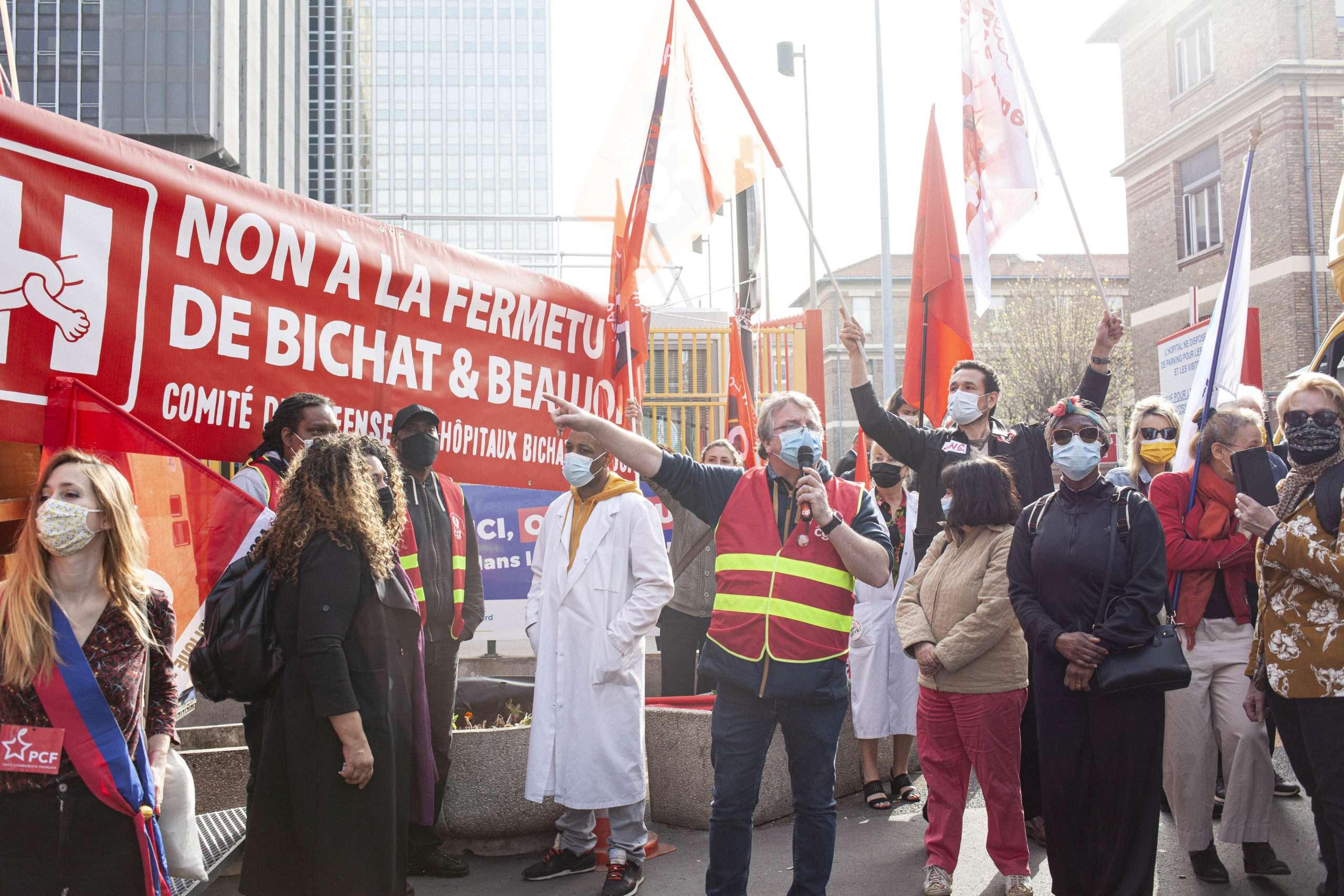 Rassemblement contre la fusion des hôptiaux Beaujon et Bichat